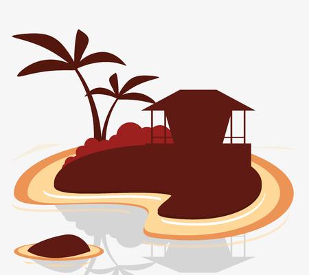 silhouette island tropical hut exotic vector illustration Illustration