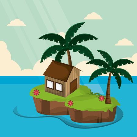 tropical bungalow island tree palm vector illustration eps 10