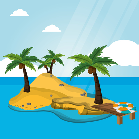 island desert with pier lifebuoy vacations vector illustration eps 10 Illustration