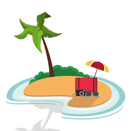 suitcase sunglasses camera umbrella equipment vacations island vector illustration Illustration