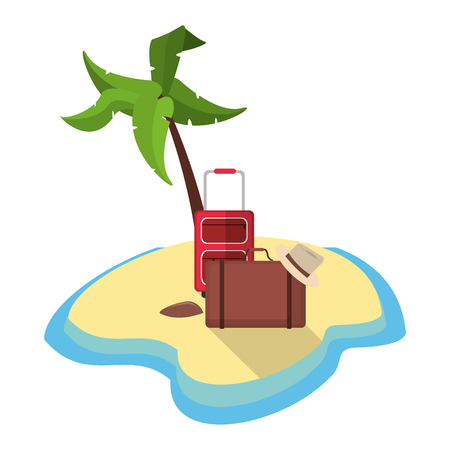 desert island: desert island with luggage hat tourism vector illustration eps 10