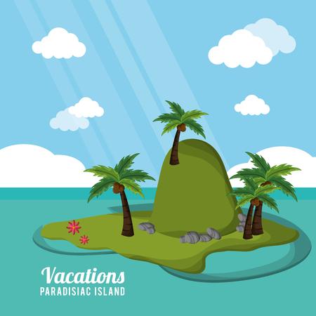 caribbean tropical vacations paradisiac island vector illustration eps 10 Illustration