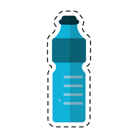 plastic bottle water mineral recycling - dot line vector illustration eps 10