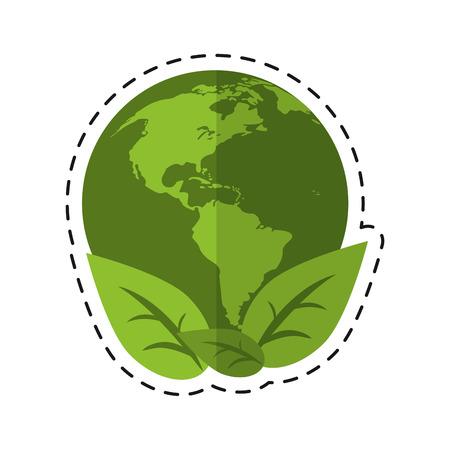 world earth ecological enviroment leaves symbol - dot line vector illustration eps 10