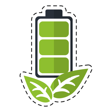 recycle battery energy leaves eco - dot line vector illustration eps 10