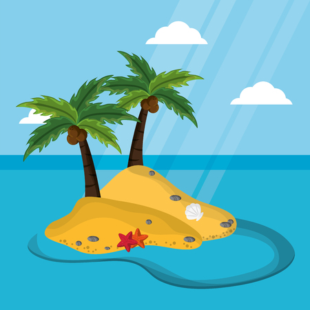 island with palm tree coconut starfish mussel sunlight vector illustration
