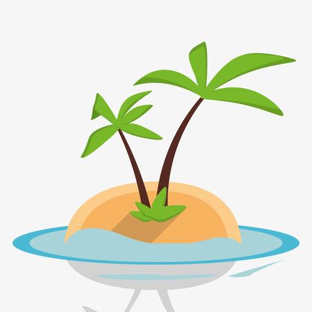 water s: desert island palm sea design vector illustration Illustration