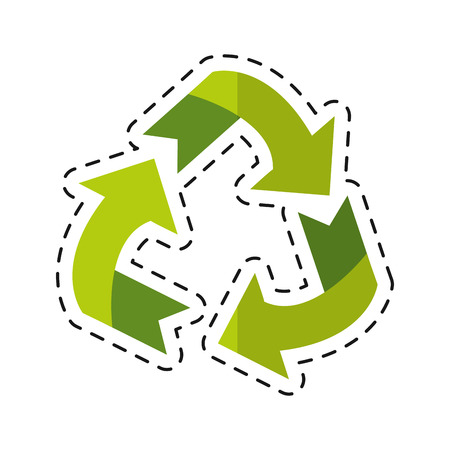 environment arrow aroung recycle ecology symbol - dot line vector illustration eps 10 Illustration