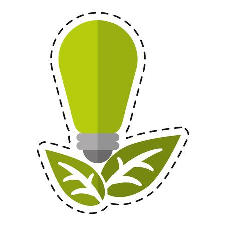 green bulb: green bulb environment ecological energy leaf - dot line vector illustration eps 10 Illustration