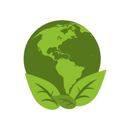 world earth ecological environment leaves symbol vector illustration Illustration