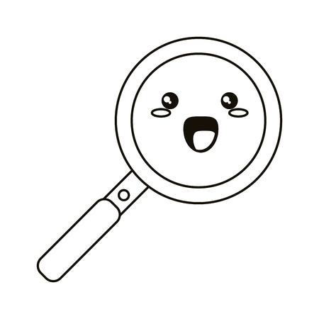 kawaii pan cooking funny icon thin line vector illustration eps 10