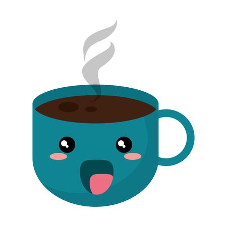 kawaii coffee cup hot vector illustration eps 10 Illustration