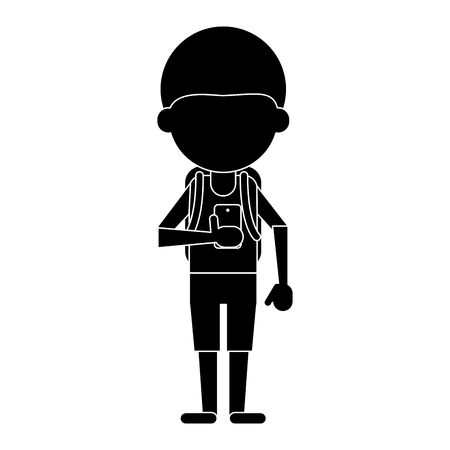 plugin: young boy looking cellphone social media pictogram vector illustration eps 10