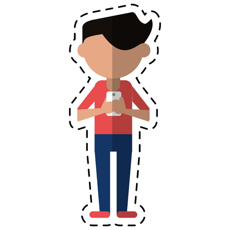 telephone cartoon: character messaging texting mobile cut line vector illustration eps 10 Illustration