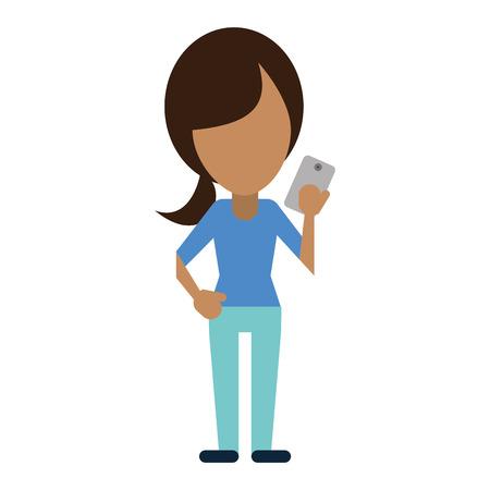 caractère à l'aide de la technologie smartphone illustration vectorielle eps 10