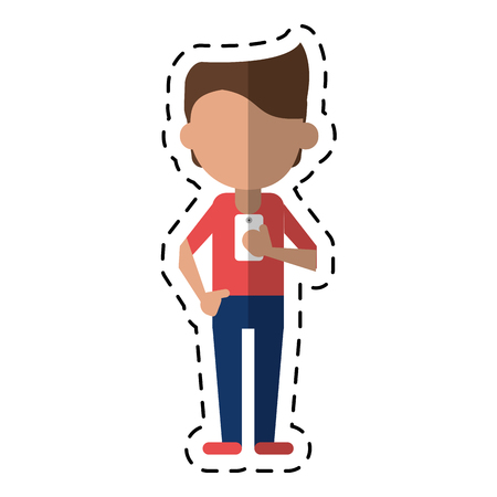 young man holding cellphone mobile dot line vector illustration eps 10