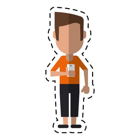 man character stylish look display smartphone dot line vector illustration