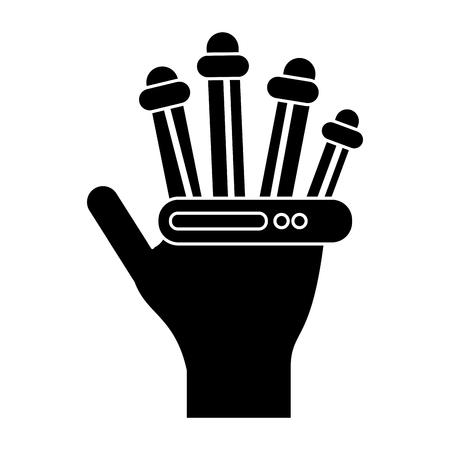 engrossed: hand electronic vr cyber gadget pictogram vector illustration Illustration