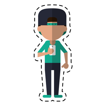 sportman character using smartphone dot line vector illustration