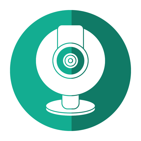 web cam computer rounded icon shadow vector illustration