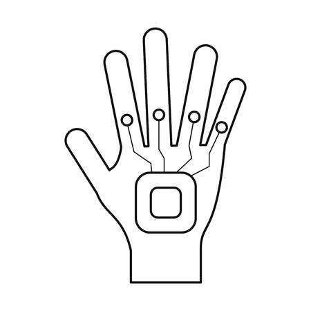 engrossed: vr glove digital icon thin line vector illustration