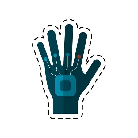 engrossed: vr   glove digital icon cut line vector illustration