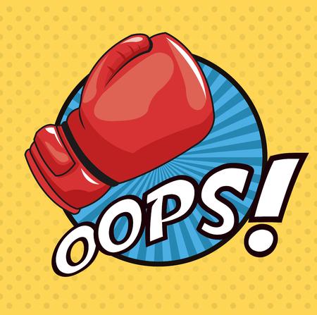pop art fight glove oops blue circle design vector illustration Illustration