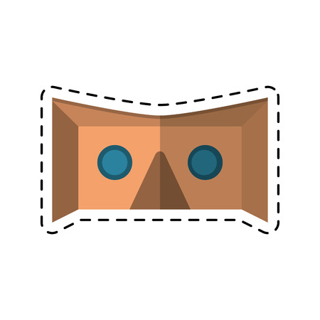 cut line: vr goggles technology cut line vector illustration