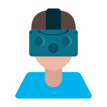 gamer with virtual reality augmented device vector illustration