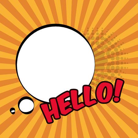 pop art hello bubble speech stripes background design vector illustration
