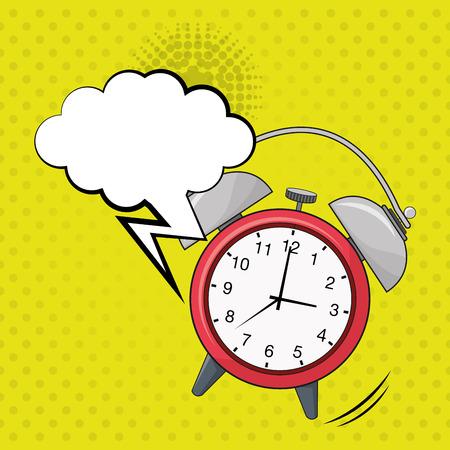 clock ring bubble speech pop art design vector illustration Vettoriali
