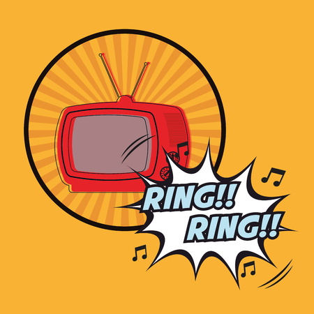 television ring ring vintage pop art design vector illustration