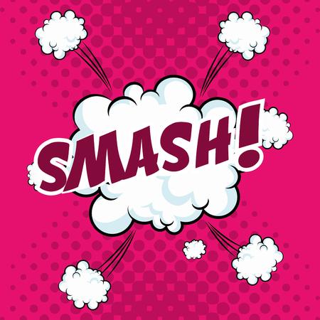 smash bubble speech pop art design vector illustration