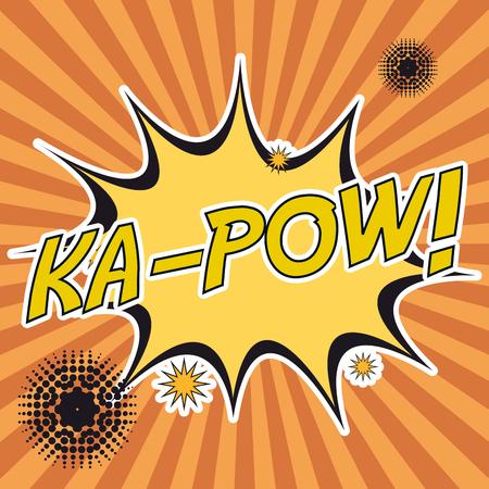 kapow: pop art ka-pow stripes background design vector illustration