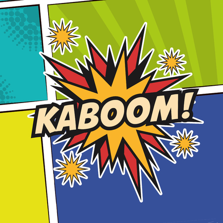 pop art kaboom texting stars colored background design vector illustration