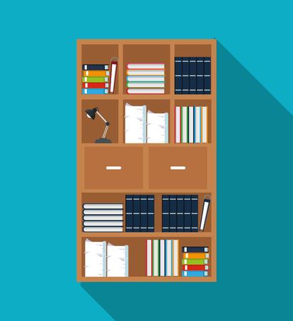 assemblage: bookshelf furniture book document lamp shadow vector illustration Illustration