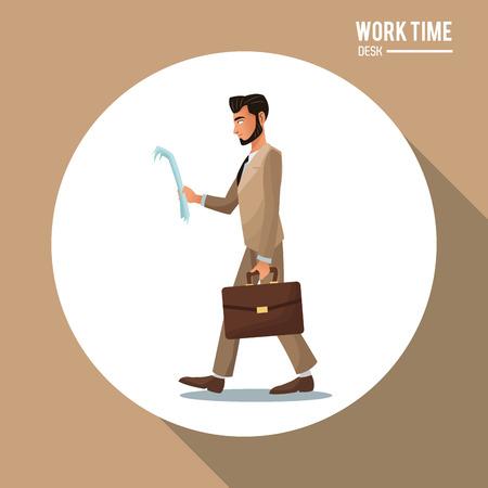 businessman shoes: man office business suit read document and suitcase vector illustration