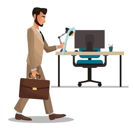 man office reading paper suitcase desk armchair laptop vector illustration