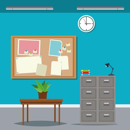 laid off: work time desk table cabinet file clock plant vector illustration