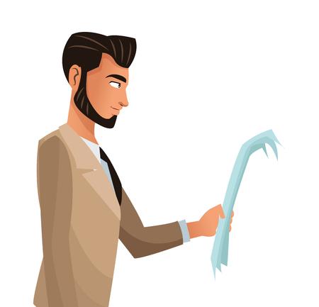 man business office read document vector illustration Illustration