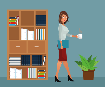 beaut woman holding coffee office furniture pot plant vector illustration