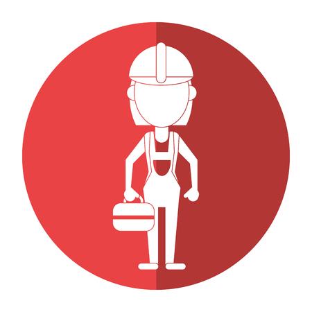 woman shadow: woman worker construction toolbox shadow vector illustration