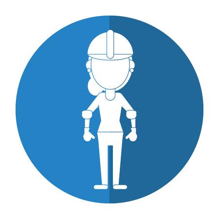woman shadow: construction woman helmet gloves shadow vector illustration