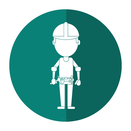 tool belt: construction man helmet tool belt shadow vector illustration