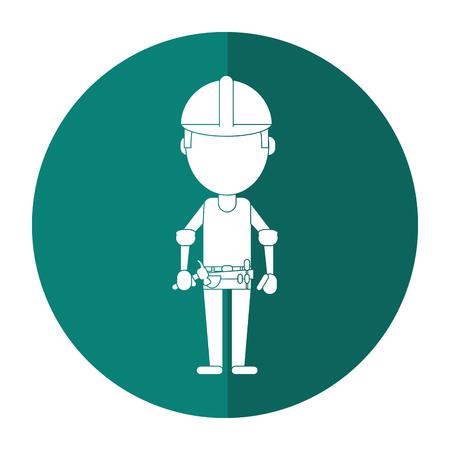 construction man helmet tool belt shadow vector illustration