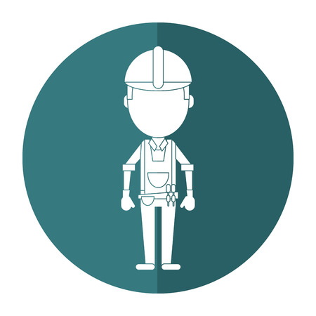 tool belt: construction man with tool belt gloves shadow vector illustration