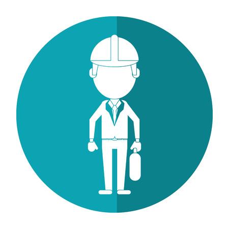 architect wearing safety helmet suitcase shadow vector illustration Illustration