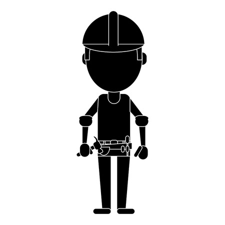 tool belt: construction man helmet tool belt hammer pictogram vector illustration