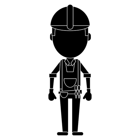 tool belt: construction man with tool belt pictogram vector illustration