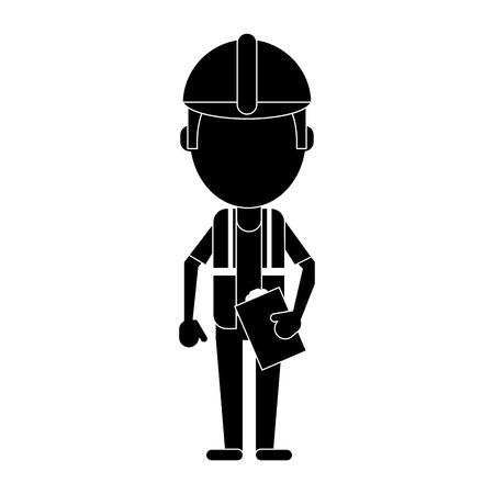 laptop repair: foreman construction helmet vest and clipboard pictogram vector illustration